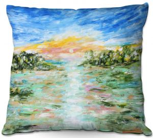 Throw Pillows Decorative Artistic | Karen Tarlton - Abstract Ocean Rocks | coast sea water nature landscape