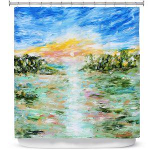 Premium Shower Curtains | Karen Tarlton - Abstract Ocean Rocks | coast sea water nature landscape