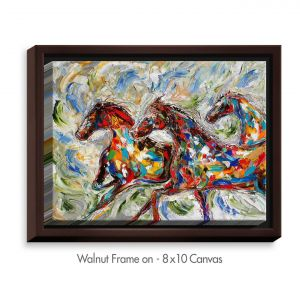 Decorative Canvas Walnut Frame 24x18 from DiaNoche Designs by Karen Tarlton - Abstract Wild Horses