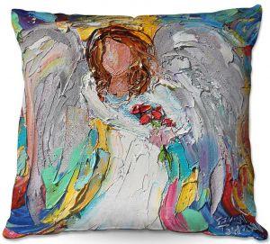 Throw Pillows Decorative Artistic   Karen Tarlton - Angel Flowers