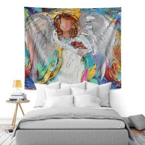 Artistic Wall Tapestry   Karen Tarlton - Angel Flowers