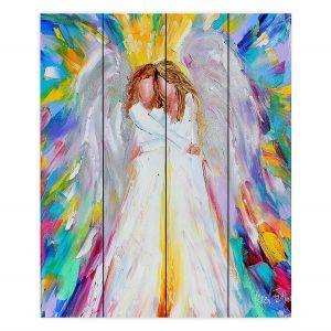 Decorative Wood Plank Wall Art   Karen Tarlton - Angel Hugs 2   Spiritual People