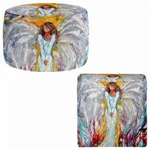 Round and Square Ottoman Foot Stools | Karen Tarlton - Angel Watching Over Me