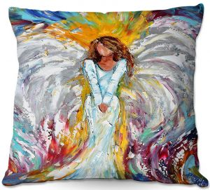 Decorative Outdoor Patio Pillow Cushion | Karen Tarlton - Angel Watching Over Me