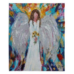 Decorative Fleece Throw Blankets | Karen Tarlton - Angel With Sunflowers