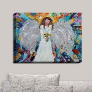 Decorative Canvas Wall Art | Karen Tarlton - Angel With Sunflowers | Flowers Celestial Angelic