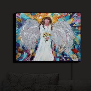 Nightlight Sconce Canvas Light | Karen Tarlton - Angel With Sunflowers | Flowers Celestial Angelic
