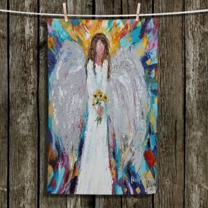 Unique Hanging Tea Towels | Karen Tarlton - Angel With Sunflowers | Flowers Celestial Angelic
