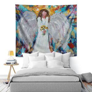 Artistic Wall Tapestry   Karen Tarlton - Angel With Sunflowers