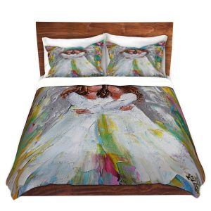 Artistic Duvet Covers and Shams Bedding | Karen Tarlton - Angel Hugs | spiritual heaven abstract painterly