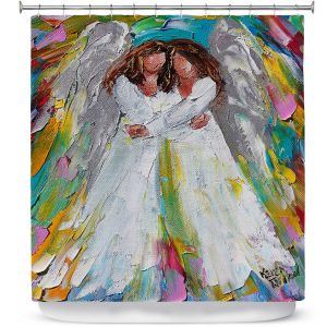 Premium Shower Curtains | Karen Tarlton - Angel Hugs | spiritual heaven abstract painterly