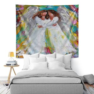 Artistic Wall Tapestry | Karen Tarlton - Angel Hugs | spiritual heaven abstract painterly