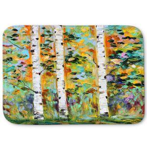 Decorative Bathroom Mats | Karen Tarlton - Autumn Birch Trees 3 | Birch trees landscape