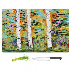 Artistic Kitchen Bar Cutting Boards | Karen Tarlton - Autumn Birch Trees 3 | Birch trees landscape