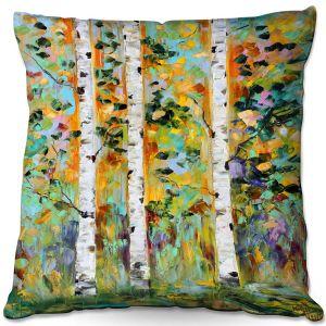 Decorative Outdoor Patio Pillow Cushion   Karen Tarlton - Autumn Birch Trees 3   Birch trees landscape