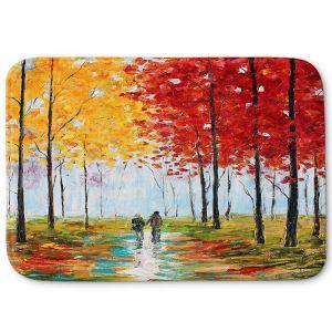 Decorative Bathroom Mats | Karen Tarlton - Autumn Melody | Park landscape city nature trees path impression