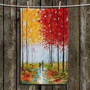 Unique Hanging Tea Towels   Karen Tarlton - Autumn Melody   Park landscape city nature trees path impression