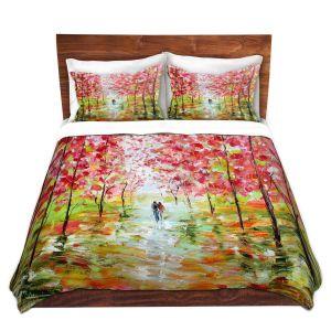 Artistic Duvet Covers and Shams Bedding | Karen Tarlton - Autumn Spring Romance | Forest Trees Park