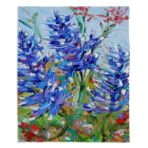 Decorative Fleece Throw Blankets | Karen Tarlton - Blue Bonnets | Flowers Texas
