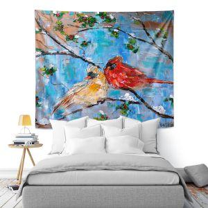 Artistic Wall Tapestry | Karen Tarlton - Cardinals 2 | Wild Birds