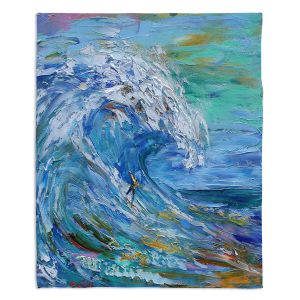 Artistic Sherpa Pile Blankets | Karen Tarlton - Catch a Wave | Beach Ocean Surfing Waves