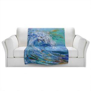 Artistic Sherpa Pile Blankets   Karen Tarlton - Catch a Wave   Beach Ocean Surfing Waves