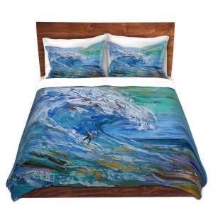 Artistic Duvet Covers and Shams Bedding   Karen Tarlton - Catch a Wave   Beach Ocean Surfing Waves