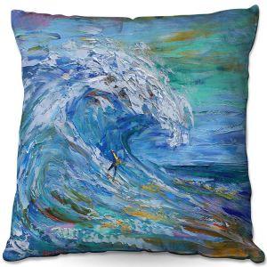 Decorative Outdoor Patio Pillow Cushion | Karen Tarlton - Catch a Wave | Beach Ocean Surfing Waves