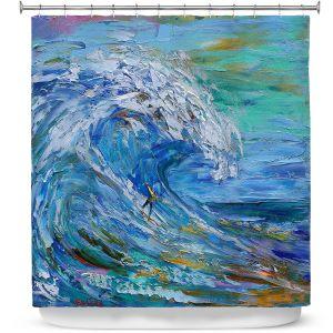 Premium Shower Curtains   Karen Tarlton - Catch a Wave   Beach Ocean Surfing Waves