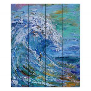Decorative Wood Plank Wall Art | Karen Tarlton - Catch a Wave | Beach Ocean Surfing Waves