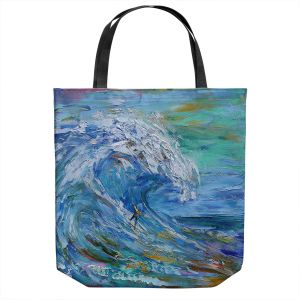 Unique Shoulder Bag Tote Bags | Karen Tarlton - Catch a Wave | Beach Ocean Surfing Waves