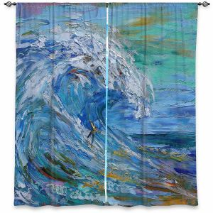 Decorative Window Treatments | Karen Tarlton - Catch a Wave | Beach Ocean Surfing Waves