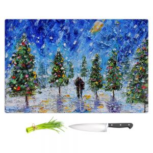 Artistic Kitchen Bar Cutting Boards | Karen Tarlton - Christmas Romance | Christmas Tree Lights