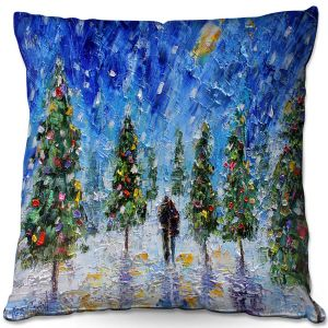 Decorative Outdoor Patio Pillow Cushion | Karen Tarlton - Christmas Romance | Christmas Tree Lights