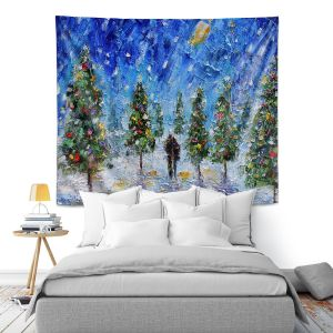 Artistic Wall Tapestry | Karen Tarlton - Christmas Romance | Christmas Tree Lights
