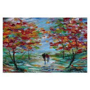Decorative Floor Covering Mats | Karen Tarlton - Colorful Romance | Trees Parks Nature Couple