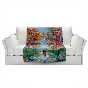 Artistic Sherpa Pile Blankets   Karen Tarlton - Colorful Romance   Trees Parks Nature Couple