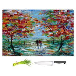 Artistic Kitchen Bar Cutting Boards | Karen Tarlton - Colorful Romance | Trees Parks Nature Couple