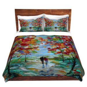 Artistic Duvet Covers and Shams Bedding | Karen Tarlton - Colorful Romance | Trees Parks Nature Couple