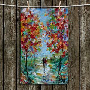 Unique Hanging Tea Towels | Karen Tarlton - Colorful Romance | Trees Parks Nature Couple