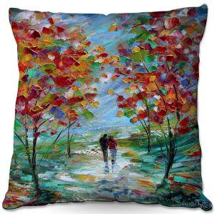 Throw Pillows Decorative Artistic   Karen Tarlton - Colorful Romance   Trees Parks Nature Couple