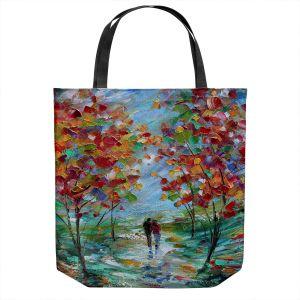 Unique Shoulder Bag Tote Bags | Karen Tarlton - Colorful Romance | Trees Parks Nature Couple