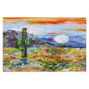 Decorative Floor Covering Mats | Karen Tarlton - Desert Moon | Desert Landscape Nature Cactus Moon Mountains