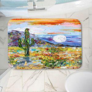 Decorative Bathroom Mats | Karen Tarlton - Desert Moon | Desert Landscape Nature Cactus Moon Mountains