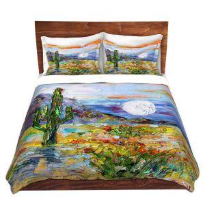 Artistic Duvet Covers and Shams Bedding | Karen Tarlton - Desert Moon | Desert Landscape Nature Cactus Moon Mountains