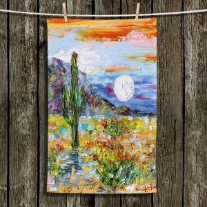 Unique Hanging Tea Towels | Karen Tarlton - Desert Moon | Desert Landscape Nature Cactus Moon Mountains
