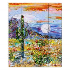 Decorative Wood Plank Wall Art   Karen Tarlton - Desert Moon   Desert Landscape Nature Cactus Moon Mountains