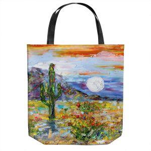 Unique Shoulder Bag Tote Bags   Karen Tarlton - Desert Moon   Desert Landscape Nature Cactus Moon Mountains