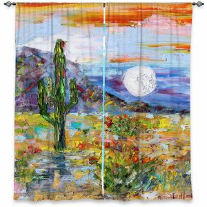 Decorative Window Treatments | Karen Tarlton - Desert Moon | Desert Landscape Nature Cactus Moon Mountains