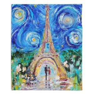Decorative Fleece Throw Blankets | Karen Tarlton - Eiffel Tower Starry Night